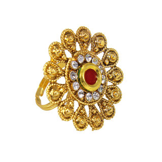 Red And White Stone Studded Ethnic Ring In Flower Shape, adjustable