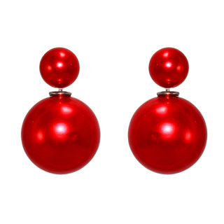 Red Pearl Ball Adorned Reversible Studs