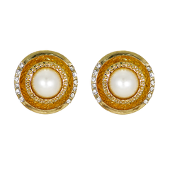 Golden Stud Earrings With Pearl And CZ Stones