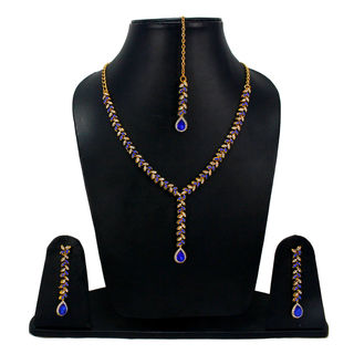 Blue Stone Stylish Necklace With CZ Stones