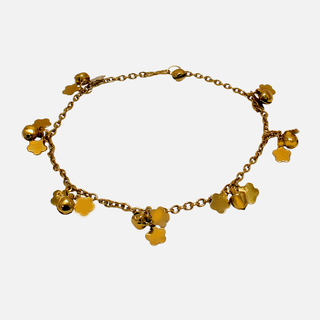 Gold Tone Anklet With Dangling Flowers For Girls