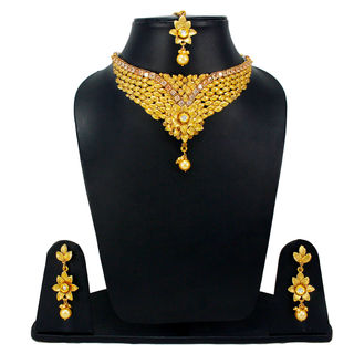 Golden Necklace Set With Mang-Tika For Women