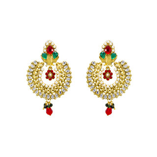 Gold Tone Ethnic Danglers In Kundan And Pearls For Women