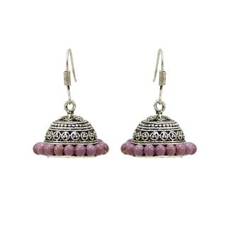 Silver Ethnic Oxidised Jhumki With Purple Pearls For Women