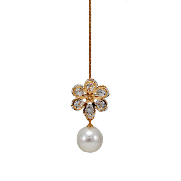White Stone And Dangling Pearl Adorned Maang Tikka