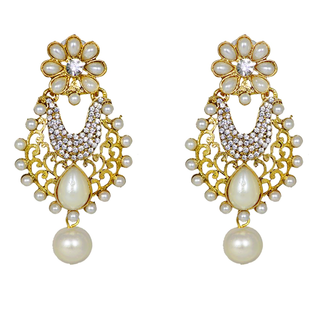 Beautiful Pearl Studded Golden Ethnic Earring For Women