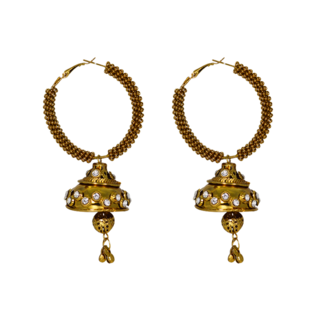 Beautiful Golden Alloy Baali For Girls With Dangling Jhumki