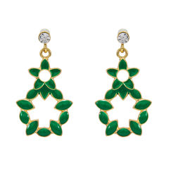 Gold Tone Danglers With Green Leaf Design