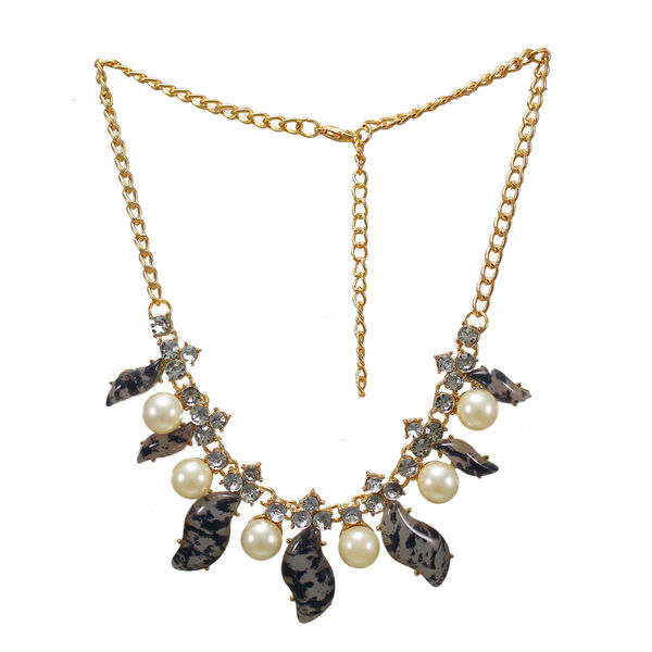 Stylish Leopard Print Necklace With Dangling Pearl
