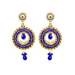 Beautiful Golden Ethnic Earring In Combination With Royal Blue