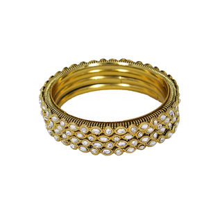 Gold Tone 4PCS Bangle Set Adorned With Kundan, 2-4