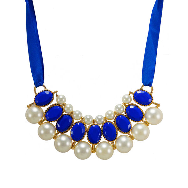 Blue Ribbon Tie Up Necklace Adorned With Stones And Pearl