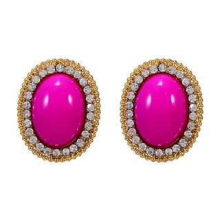Gold Tone Studs Embellished With Pink Stones