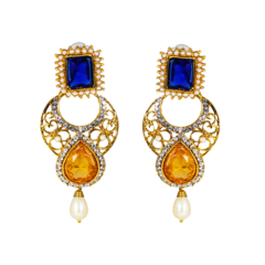 Gold Tone Danglers In Blue And Yellow Studded With Pearl Drops