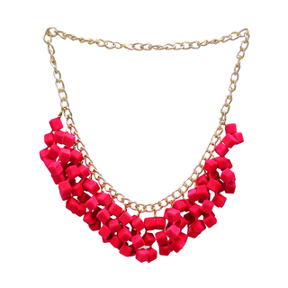 Pink Velvet Cube Filled Neck Piece With Earrings
