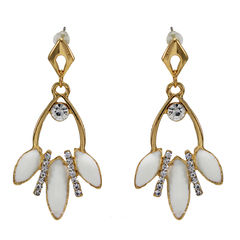 White Stone And Leaf Design Adorned Earrings