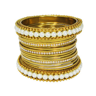 Graceful Gold Tone Bangles Set Adorned With Pearl For Women, 2-6