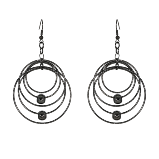 Round Multi-Rings Black Metallic Fashion Dangler