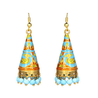 Ethnic Blue And Yellow Meenakari Danglers For Girls