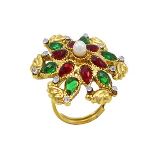 Gold Plated Polki Ring With Red Green Stone