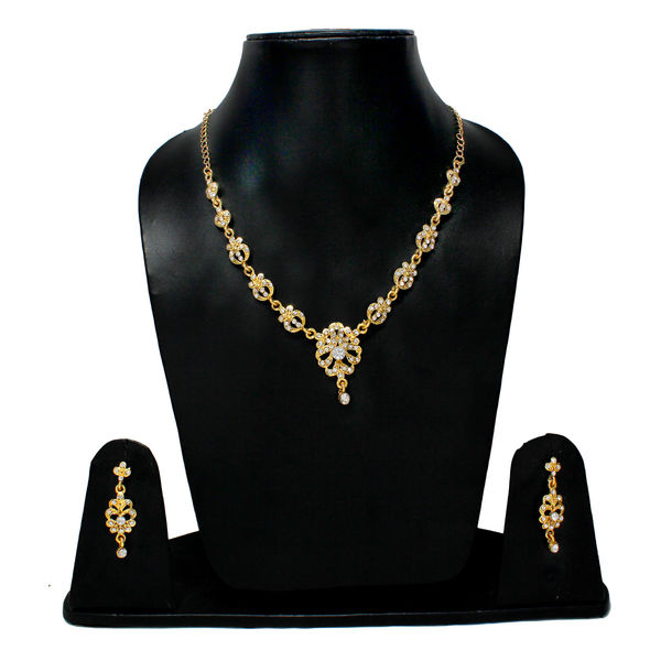 Floral Design Necklace Set Studded With White Stone