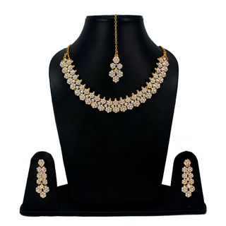 White Stones Adorned Floral Sleek Necklace For Women