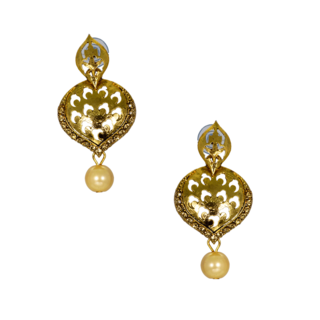 Ethnic Danglers In Golden With Dangling Pearl