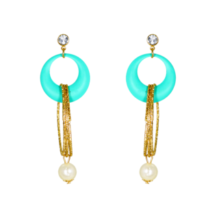 Blue And Golden Designer Fashion Earring For Women