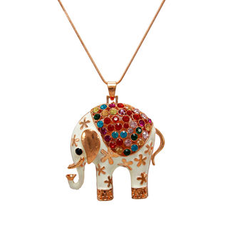 Multi-Color Elephant Pendant On Copper Chain
