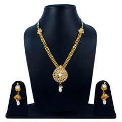 Traditional White Stone Adorned Necklace Set