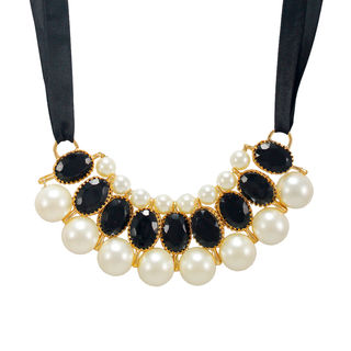 Black Ribbon Tie Up Necklace Adorned With Stones And Pearl