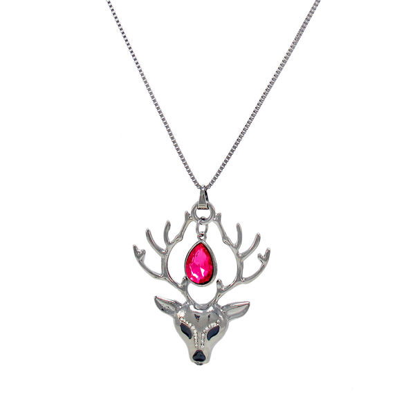 Pink Stone Adorned Silver Deer Pendant For Women