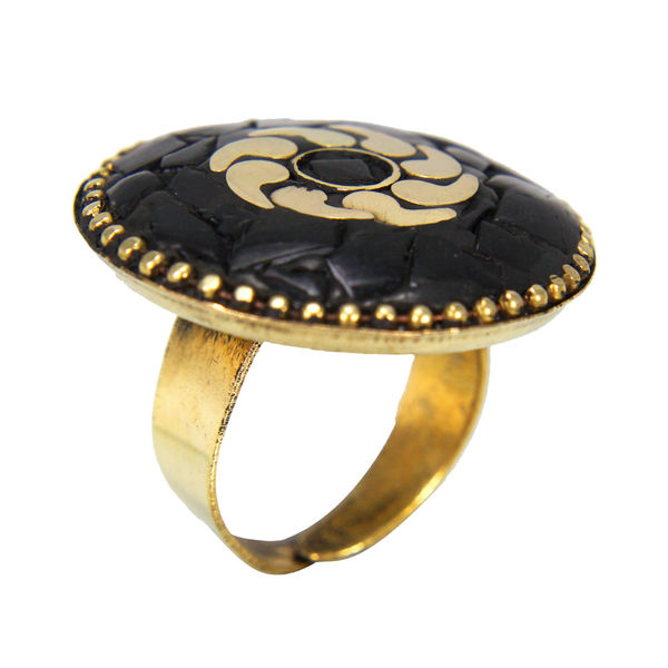 Beautiful Ring In Golden And Black For Girls, adjustable