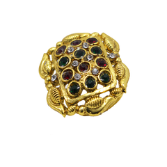 Gold Tone Polki Ring With Red Green Stone