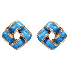 Blue And Golden Square Tops For Women