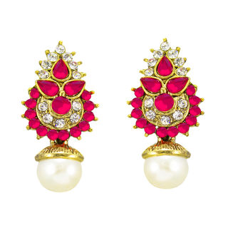 Pink And Golden Ethnic Stud Earrings For Women