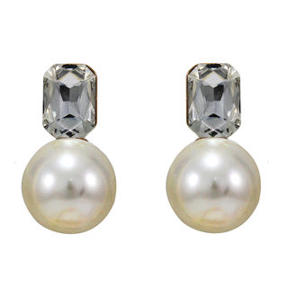 Pearl Adorned Pair Of Gold Tone Earrings