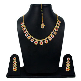 CZ And Red Stones Adorned Sleek Necklace Set