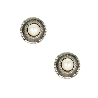 Silver Fusion Earrings Studded With Pearl And Stones