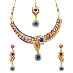 Pink And Blue Stone Studded Gold Tone Ethnic Necklace Set
