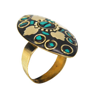 Girl's Fashion Ring With Golden Leaf Design On Green Stone, adjustable