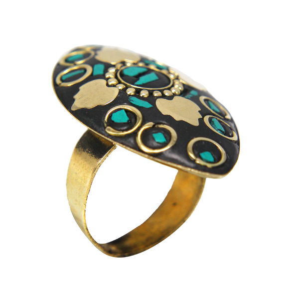 Girl s Fashion Ring With Golden Leaf Design On Green Stone, adjustable