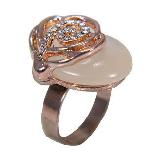 Copper Fashion Ring With Golden Flower On Beige Stone, adjustable