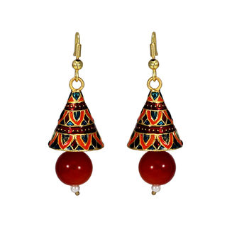 Orange Meenakari Jhumki With Dangling Pearl