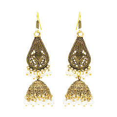 Oxidised Golden Danglers with Pearls For Women