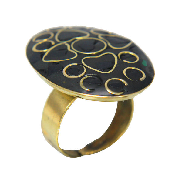 Black And Golden Brass Fashion Ring, adjustable