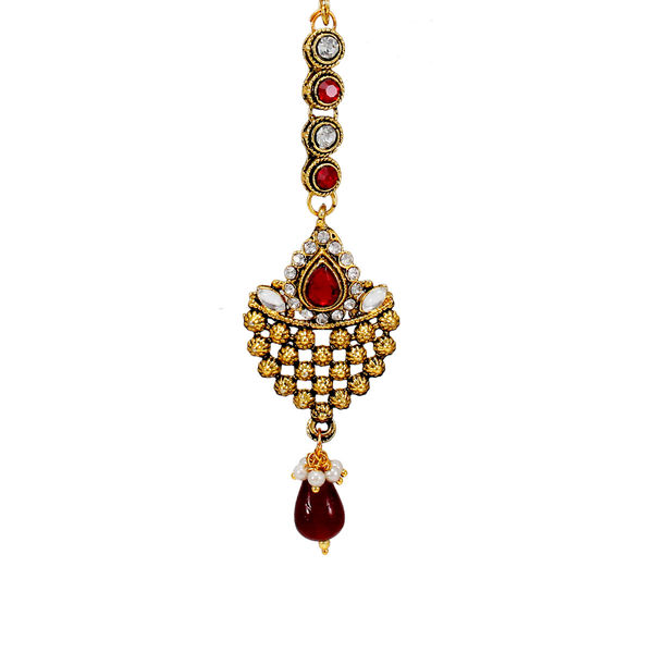 Maang Tikka Studded With Red And White Stone
