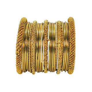 Alloy Metal Designer Bangle Set In Gold Tone For Women, 2-6