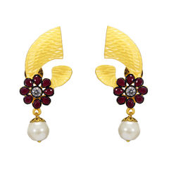Elegant Gold Tone Earrings With Pink Stones