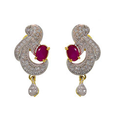 Pink Stone And American Diamond Adorned Earrings